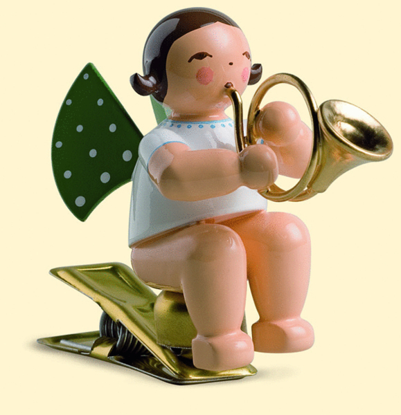 Angel with French horn, on clip